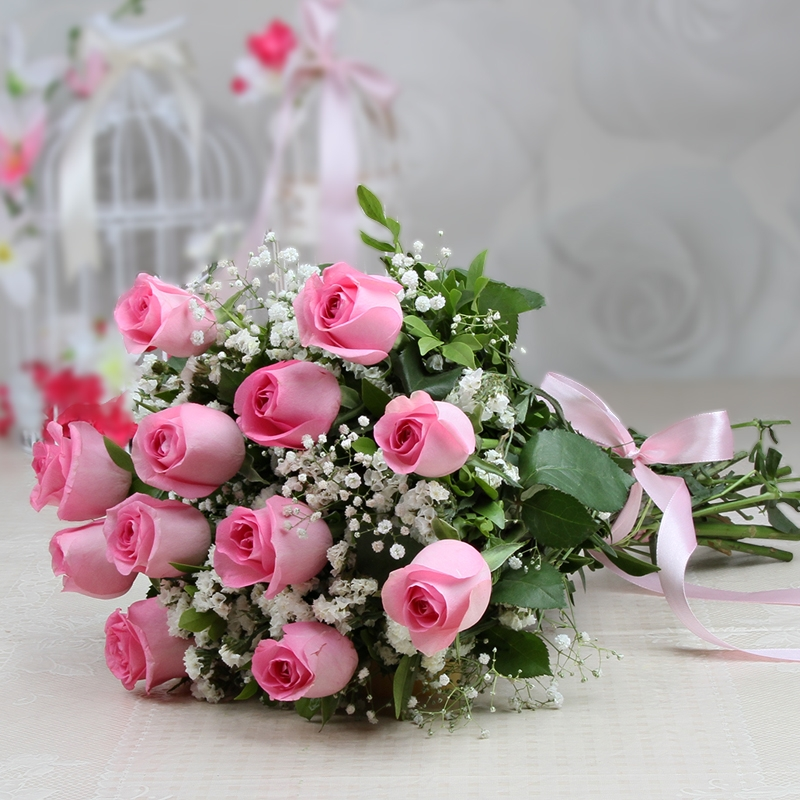 Bunch Of 12 Pink Roses Faridabad Online Gift Store